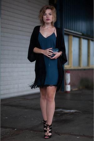 navy Ikks purse - navy Zara dress - black Primark cardigan - black Zara sandals