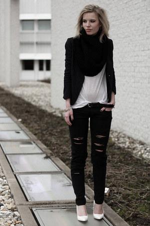 navy H&M Trend blazer - black Mango jeans - off white H&M t-shirt