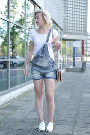 white Omoda flats - blue zalando romper - white plain basic tee asos t-shirt