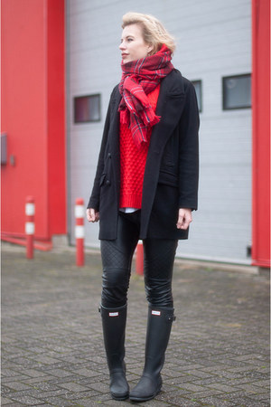ruby red H&M scarf - black Hunter boots - black Drykorn coat - red H&M sweater