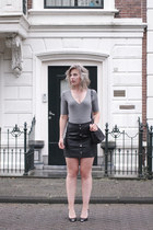 black asos bag - heather gray body v-neck rib H&M bodysuit