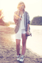 light brown asos necklace - white Sacha boots - white Rut & Circle shirt