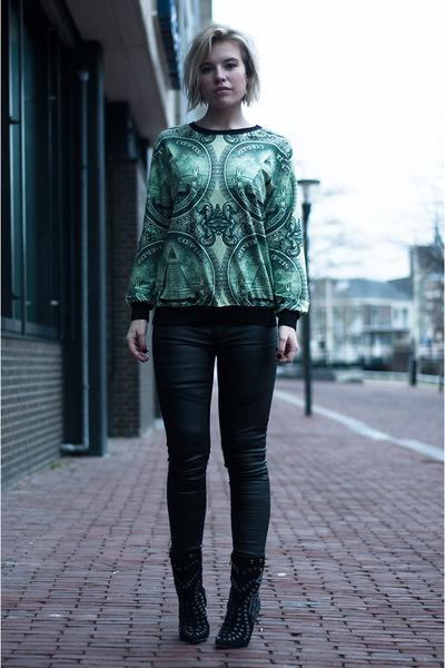 green Choies sweater - black sam edelman boots - black Coolcat pants