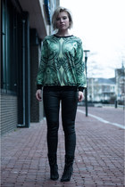 green Choies sweater - black sam edelman boots - black Coolcat pants