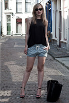 black Zara bag - light blue H&M shorts - black Ray Ban sunglasses