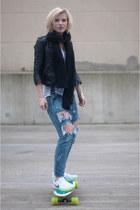 white nike sneakers - blue One Teaspoon jeans - black Mango jacket