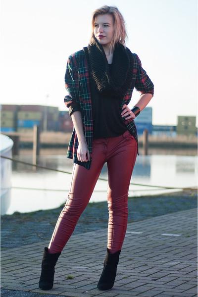 dark green vintage blazer - Mango boots - boots - Pimkie pants