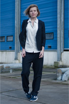 navy H&M Trend suit - periwinkle Dunderdon shirt - navy nike sneakers