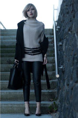 beige H&amp;M Trend sweater - black Zara coat - black Zara bag - black Zara heels
