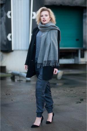 black asos coat - heather gray acne scarf - black Nelly heels - navy asos pants