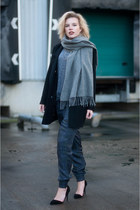 black asos coat - heather gray acne scarf - black Nelly heels - navy asos pants