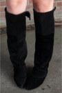 Black-h-m-boots-red-zara-dress-black-fedora-black-river-island-hat