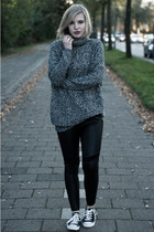 heather gray lindex sweater - black H&M DRAGON TATTOO leggings