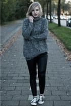 heather gray lindex sweater - black H&M DRAGON TATTOO leggings