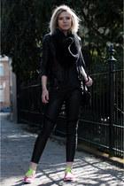 black H&M jacket - black H&M DRAGON TATTOO leggings - black DIY scarf