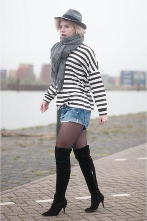 black Mango sweater - black mai piu senza boots - heather gray fedora Boohoo hat