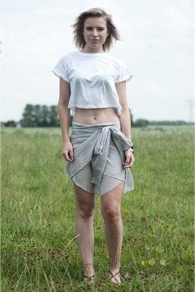 white h&m divided top - periwinkle Charlotte Kan skirt