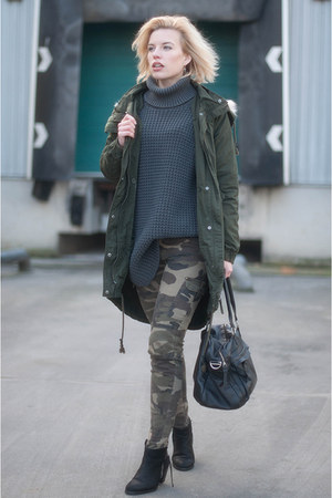 charcoal gray hope sweater - black Sacha boots - army green asos coat