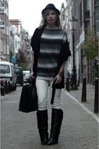 ivory H&M pants - black Sacha boots - black Zara coat