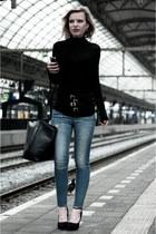 black COS sweater - sky blue the Sting jeans - black Zara bag