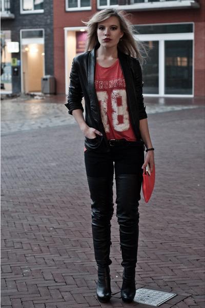 black Anna Dello Russo for H&M boots - black Mango jeans - black Mango blazer