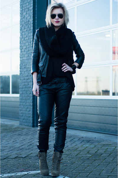 black H&M jacket - army green InVito boots - black DIY scarf