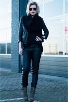 black H&M jacket - army green InVito boots - black DIY scarf