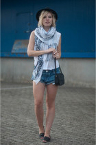 black Menorquina sandals - black fedora Lierys hat - light blue Zara scarf