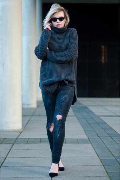 black ray-ban sunglasses - gray Mango jeans - charcoal gray hope sweater