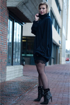 black sam edelman boots - black Zara dress