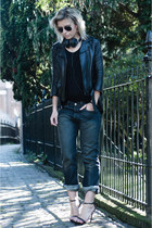 black H&M jacket - blue Levis jeans - forest green ray-ban sunglasses