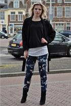 navy H&M jeans - black Mango boots - black oversized black Zara coat