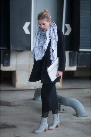 black asos dress - light blue Shabbies Amsterdam boots - black asos coat