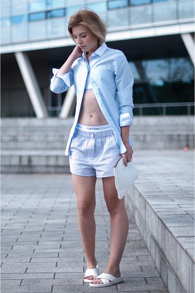 white calvin klein intimate - sky blue costes shirt
