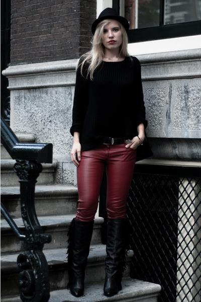 black Sacha boots - black fedora velt H&M hat - black H&M sweater
