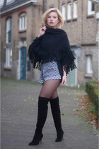 black poncho cape IWantThatMusthave cardigan - black duo boots boots