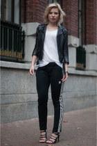 black H&M jacket - black Zara sandals - black Adidas pants - white asos t-shirt