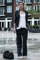 white Hema t-shirt - black H&M jacket - black sacha shoes bag