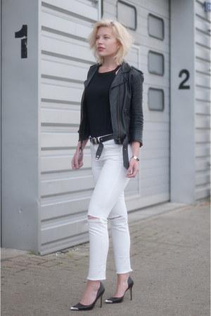 black asos jacket - white asos jeans - black pointy pumps Guess heels