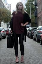 crimson COS top - black Zara coat - black Zara bag
