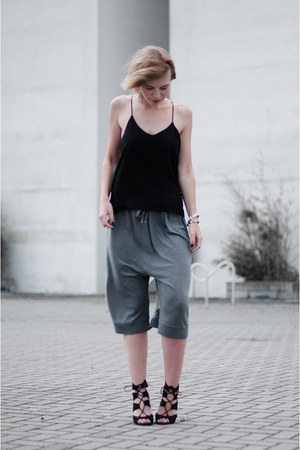 black H&M Trend top - charcoal gray Acne Studios shorts - black Zara sandals
