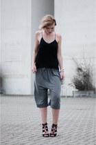 black H&M Trend top - charcoal gray Acne Studios shorts - black Zara sandals