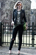 green Frenchonista bag - dark gray Mango jeans - black H&M jacket