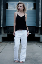 white Promiss pants - black H&M Trend vest - black mellow yellow sandals