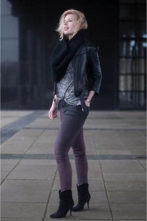 black Mango boots - purple Nelly jeans - black Topshop jacket - black DIY scarf