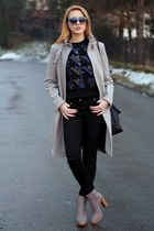 blue Zara sunglasses - charcoal gray Zara boots - heather gray Zara coat