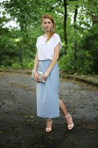 silver H&M bag - hot pink Mohito earrings - sky blue no name skirt