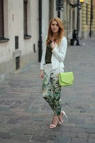green H&M panties - white Bershka jacket - chartreuse Mango bag