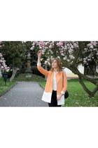 light orange pastel Zara coat - ivory H&M shirt - black chanel Primark bag