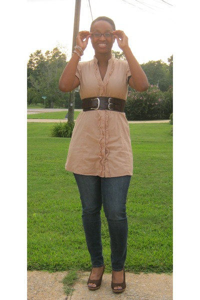 brown peep toe Payless wedges - tan Shes Cool top